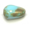 Fire polished 12x8mm Opaque turquoise/marble Coated Pear Shape Bead